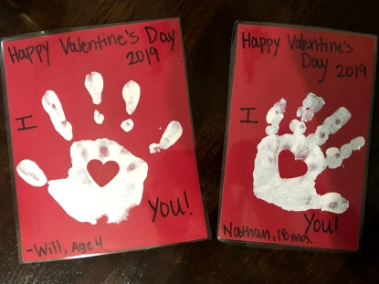 Will and Nate handprints, 2019